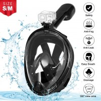 Diving Mask, EVOLAND Panoramic Dive Mask 180 ° Full Face Snorkeling Mask View Full Anti-Fog Leakproof Waterproof Mask for Children and Adults - Black