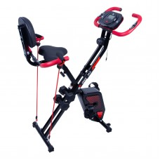 EVOLAND Exercise Bike, with Pulse Sensors and 2 Dumbbells, Foldable Indoor Trainer for Home Use